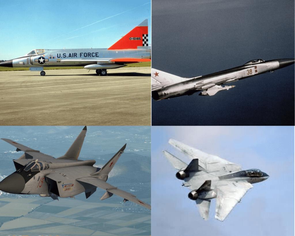 Önleme uçaklarına örnek olarak F-102, SU-17, Mig-25 ve F-14 savaş uçakları