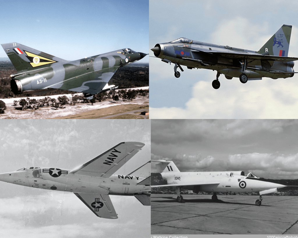 English Electric Lightning, Saunders-Roe SR.177, Dassault Mirage III ve Grumman F-11 Tiger savaş uçakları