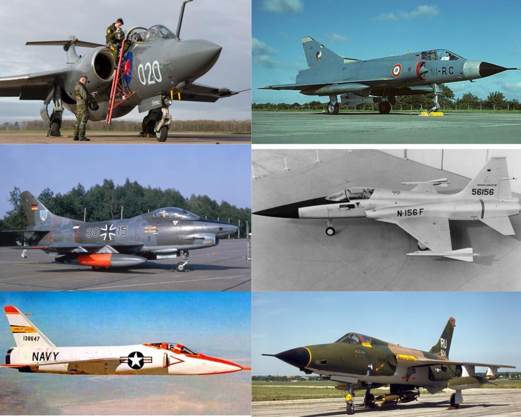 İngiliz üretimi Blackburn Buccaneer, Fransız üretimi Dassault Mirage IIIC, İtalyan üretimi Fiat G.91, Amerikan üretimi Grumman Super Tiger, Northrop N-156 ve Republic F-105 Thunderchief uçakları