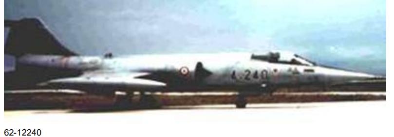 Türk Hava Kuvvetleri'ne bağlı 62-12240 kuyruk numaralı F-104 . Bu uçak 4. Ana Jet üssünde görev yapmıştır ve 1983'te emekli edilmiştir.