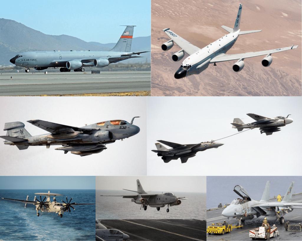 Operasyona katılan uçaklar sırasıyla soldan sağa: EC-135, RC,135, EA-6B Prowler, KA-6 Intruder, E-2C Hawkeye, EA-3 Skywarrior, F-14 Tomcat