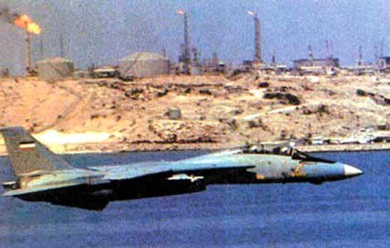 Petrol bölgelerine saldırılarda bulunan İran F-14 Tomcat'i