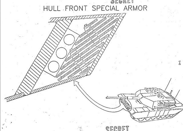 M1 Abrams'ın gövdesinin alt ön plakası, bir dizi NERA reaktif zırh plakasından oluşur.